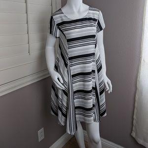 Arloh A-line Striped Short Sleeve Dress
